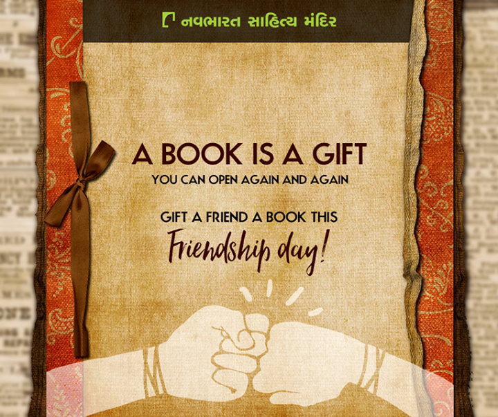 A Book is a Gift you can Open Again and Again! Gift a #Book this #FriendshipDay !  #BooksAsGifts #Books #NavbharatSahityaMandir #Reading