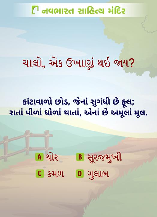 ચાલો, એક ઉખાણું થઇ જાય?  #NavbharatSahityaMandir #Riddle #Weekend #Readers #Reading