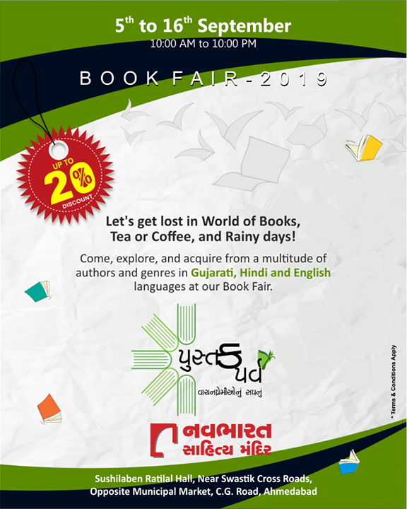 Come, explore and acquire from the multitude of books by various authors and across all genres in Gujarati, Hindi, and English languages at Navbharat Sahitya Mandir Book Fair 2019. Complete details provided in the image.  #BookFair2019 #BookFair #NavbharatSahityaMandir #Books #Reading #LoveForReading #BooksLove #BookLovers