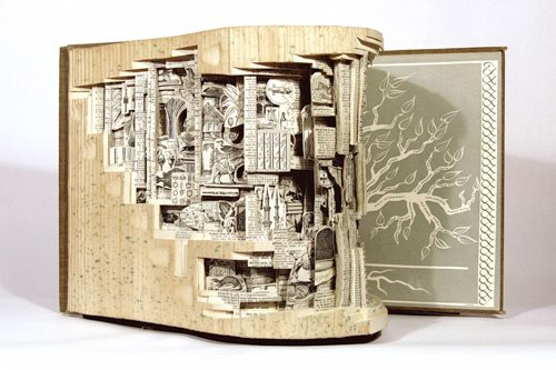 Beautiful art piece made out of Books!