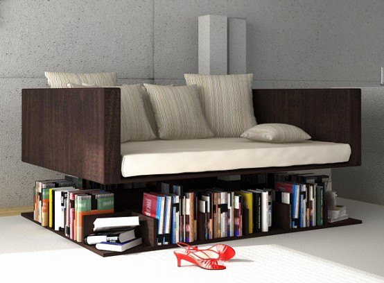 Reading Sofa Which Looks Elevating Above The Books