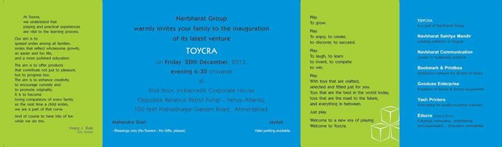 Navbharat Sahitya Mandir cordially invites you to the New Era of Playing!   We, Navbharat Group proudly announcing launch of our very new venture - Toycra   Come & Be a part of our celebration :)