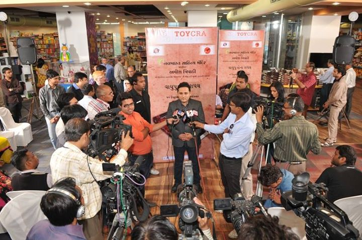 Press Release happening at Toycra.....happening right after the launch of ''Oath of Vayuputra''   Amish Tripathi exclusively talking to media....a pic sharing for you all!