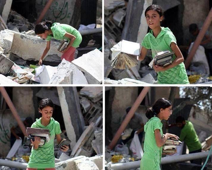 People who understand the value of literature are the people who understand the real meaning of education.   A picture of a young girl bringing books out and saving literature after attacks in palestine...courage, strength....and so many words coming to our minds.....  Does this pic really need us to say anything?