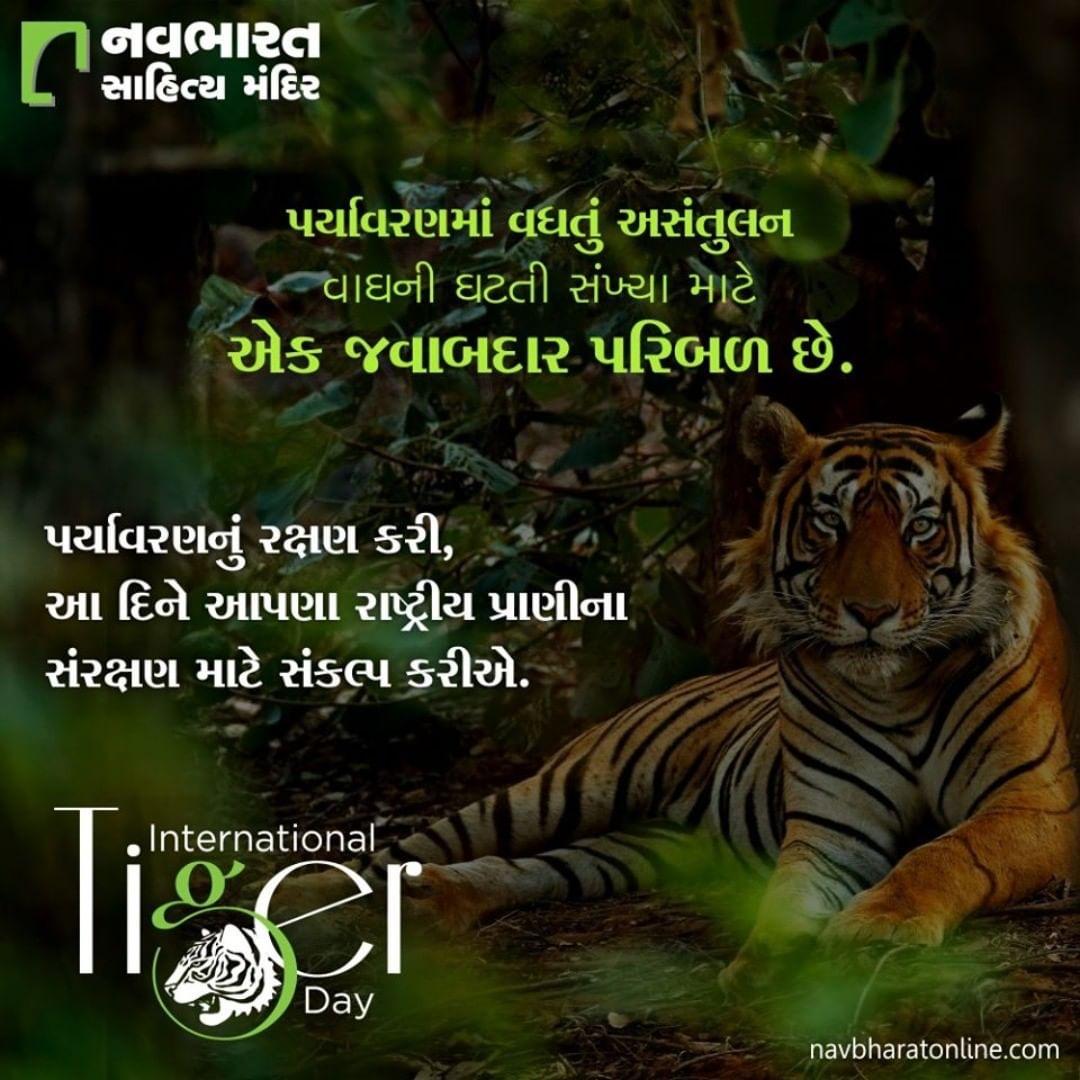 પર્યાવરણમાં વધતું અસંતુલન વાઘની ઘટતી સંખ્યા માટે એક જવાબદાર પરિબળ છે. પર્યાવરણનું રક્ષણ કરી, આ દિને આપણા રાષ્ટ્રીય પ્રાણીના સંરક્ષણ માટે સંકલ્પ કરીએ.  #InternationalTigerDay #InternationalTigerDay2020 #TigerDay #SaveTheTiger #Tigers #NavbharatSahityaMandir #ShopOnline #Books #Reading #LoveForReading #BooksLove #BookLovers #Bookaddict #Bookgeek #Bookish #Bookaholic #Booklife #Bookaddiction #Booksforever